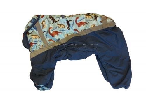 Комбинезон Dinozavr зимний на синтепоне и флисе для собак породы мопс, французский бульдог, бигль, вест хайленд терьер, джек рассел, кокер спаниэль, фокстерьер, цвергшнауцер, шарпей, шотландский терьер, пудель