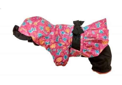 Комбинезон Pink Zoo зимний на синтепоне и флисе с капюшоном для собак породы мопс, французский бульдог, бигль, вест хайленд терьер, джек рассел, кокер спаниэль, фокстерьер, цвергшнауцер, шарпей, шотландский терьер, пудель девочка