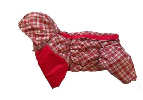 Комбинезон Красная клетка 3 зимний на синтепоне и флисе с капюшоном для собак породы мопс, французский бульдог, бигль, вест хайленд терьер, джек рассел, кокер спаниэль, фокстерьер, цвергшнауцер, шарпей, шотландский терьер, пудель