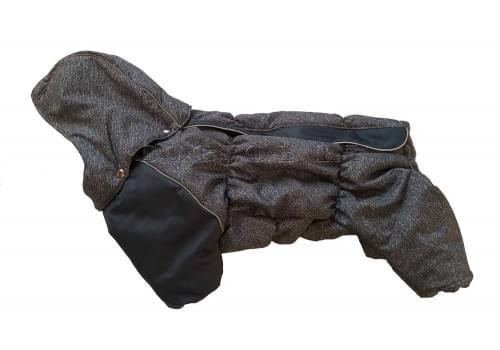 Комбинезон Jeans зимний на синтепоне и флисе с капюшоном для собак породы мопс, французский бульдог, бигль, вест хайленд терьер, джек рассел, кокер спаниэль, фокстерьер, цвергшнауцер, шарпей, шотландский терьер, пудель