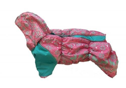 Комбинезон Розовые олени зимний на синтепоне и флисе с капюшоном для собак породы мопс, французский бульдог, бигль, вест хайленд терьер, джек рассел, кокер спаниэль, фокстерьер, цвергшнауцер, шарпей, шотландский терьер, пудель