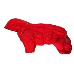 Комбинезон Дутик Красный зимний на синтепоне и флисе с капюшоном для собак