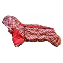 Комбинезон Красная клетка Long зимний на синтепоне и флисе с капюшоном для собак