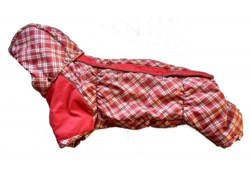 Комбинезон Красная клетка Long зимний на синтепоне и флисе с капюшоном для собак породы такса и вельш корги