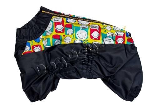 Дождевик Смайлик черный осенний для собак породы мопс, французский бульдог, бигль, вест хайленд терьер, джек рассел, кокер спаниэль, фокстерьер, цвергшнауцер, шарпей, шотландский терьер