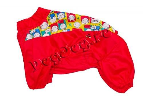 Дождевик Смайлик красный осенний для собак породы мопс, французский бульдог, бигль, вест хайленд терьер, джек рассел, кокер спаниэль, фокстерьер, цвергшнауцер, шарпей, шотландский терьер