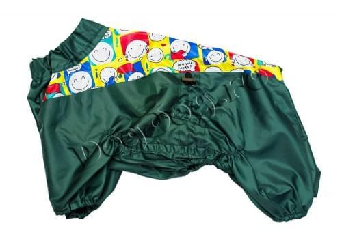 Дождевик Смайлик зеленый осенний для собак породы мопс, французский бульдог, бигль, вест хайленд терьер, джек рассел, кокер спаниэль, фокстерьер, цвергшнауцер, шарпей, шотландский терьер