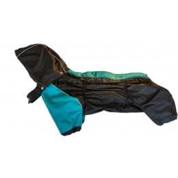 Дождевик Дутик-Черносиний непромокаемый с капюшоном для собак