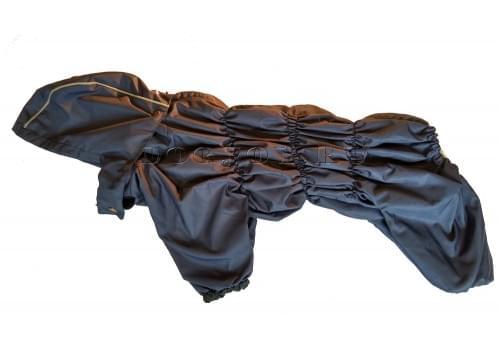 Дождевик Дутик-Синий осенний с капюшоном для собак породы мопс, французский бульдог, бигль, вест хайленд терьер, джек рассел, кокер спаниэль, фокстерьер, цвергшнауцер, шарпей, шотландский терьер