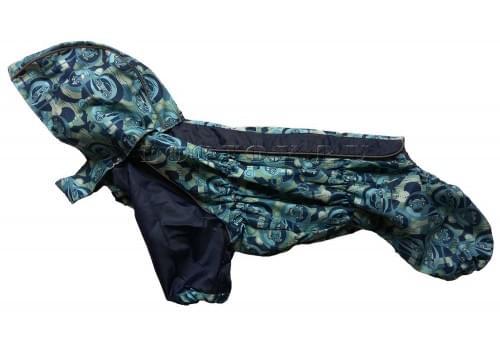 Дождевик BlueBus непромокаемый с капюшоном для собак породы мопс, французский бульдог, бигль, вест хайленд терьер, джек рассел, кокер спаниэль, фокстерьер, цвергшнауцер, шарпей, шотландский терьер