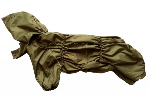 Дождевик ХакиДог осенний с капюшоном для собак породы мопс, французский бульдог, бигль, вест хайленд терьер, джек рассел, кокер спаниэль, фокстерьер, цвергшнауцер, шарпей, шотландский терьер
