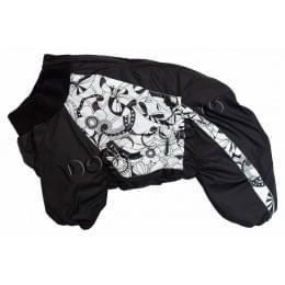 Комбинезон BlackFlowers зимний на синтепоне и флисе с капюшоном для собак