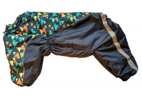 Комбинезон Веселые треугольники утепленный на синтепоне для собак породы амстафф, бультерьер, некрупный далматин, шарпей, колли