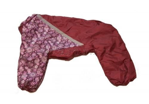 Комбинезон Бордовый цветок теплый на синтепоне для собак породы лабрадор, ретривер, далматин, боксер, доберман, кане корсо, колли, овчарка, риджбек, хаска