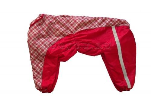 Комбинезон Красная клетка 2 теплый на синтепоне для собак породы лабрадор, ретривер, далматин, боксер, доберман, кане корсо, колли, овчарка, риджбек, хаска