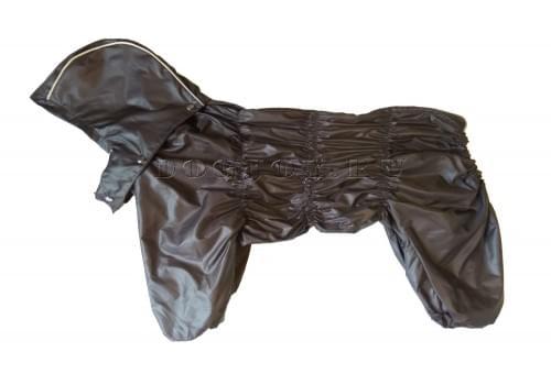 Дождевик Дутик-Шоко осенний с капюшоном для собак породы мопс, французский бульдог, бигль, вест хайленд терьер, джек рассел, кокер спаниэль, фокстерьер, цвергшнауцер, шарпей, шотландский терьер